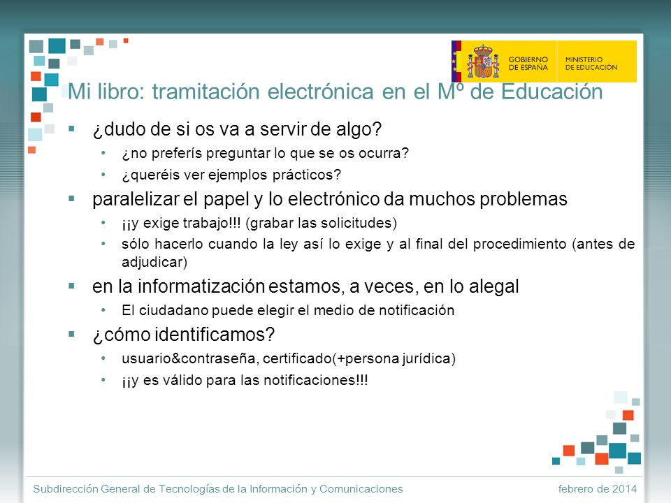 Mi libro: tramitación electrónica en el Mº de Educación