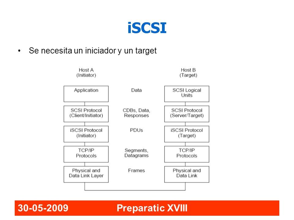 iSCSI Se necesita un iniciador y un target 30-05-2009 Preparatic XVIII