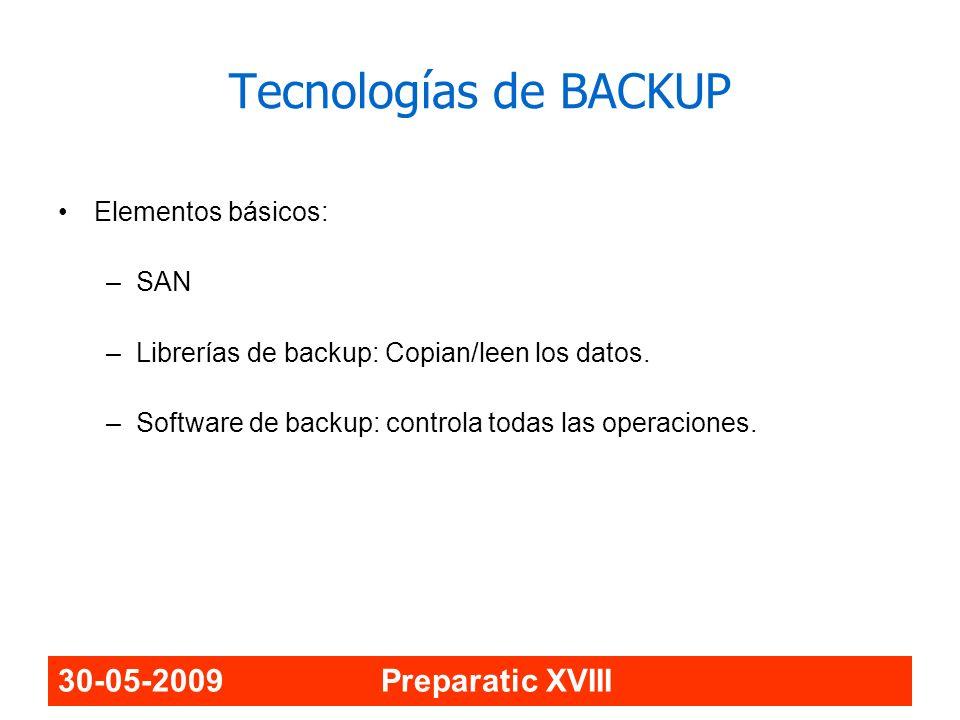 Tecnologías de BACKUP 30-05-2009 Preparatic XVIII Elementos básicos: