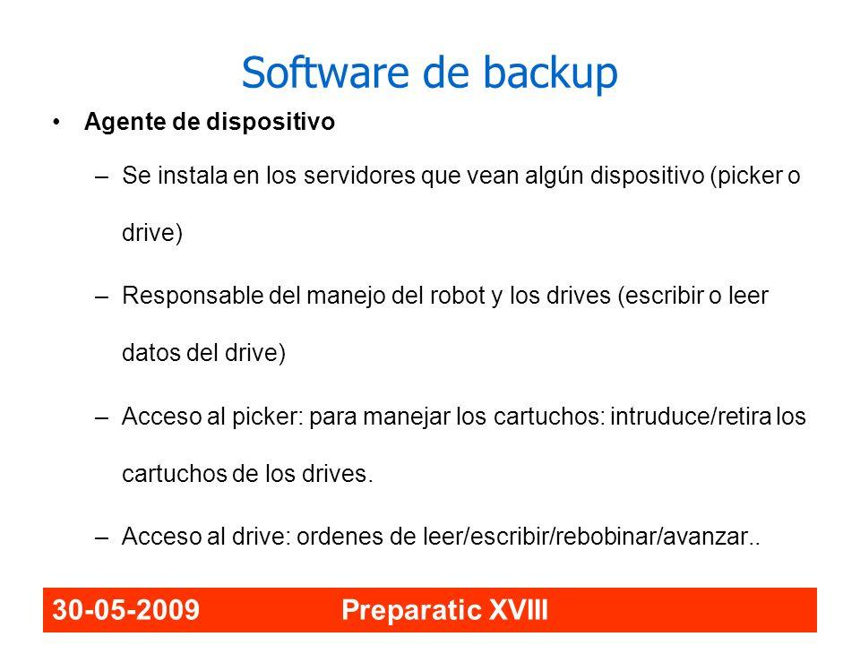Software de backup 30-05-2009 Preparatic XVIII Agente de dispositivo