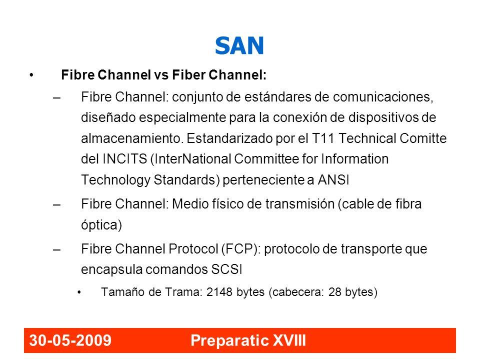 SAN 30-05-2009 Preparatic XVIII Fibre Channel vs Fiber Channel: