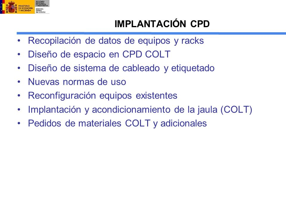 Recopilación de datos de equipos y racks Diseño de espacio en CPD COLT