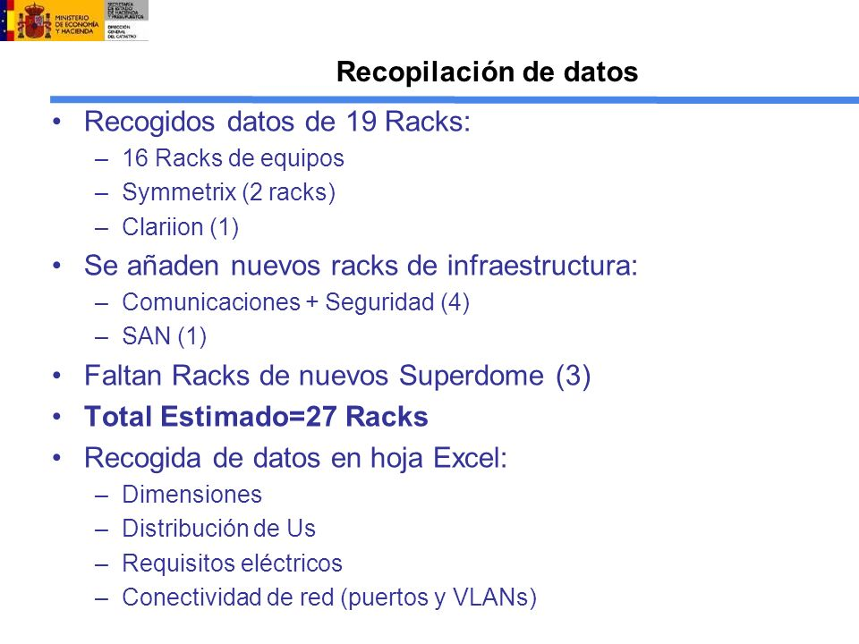 Recogidos datos de 19 Racks: