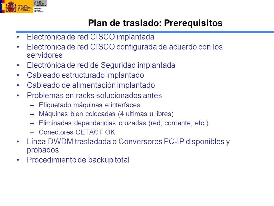Plan de traslado: Prerequisitos