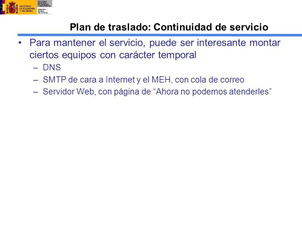 Plan de traslado: Continuidad de servicio
