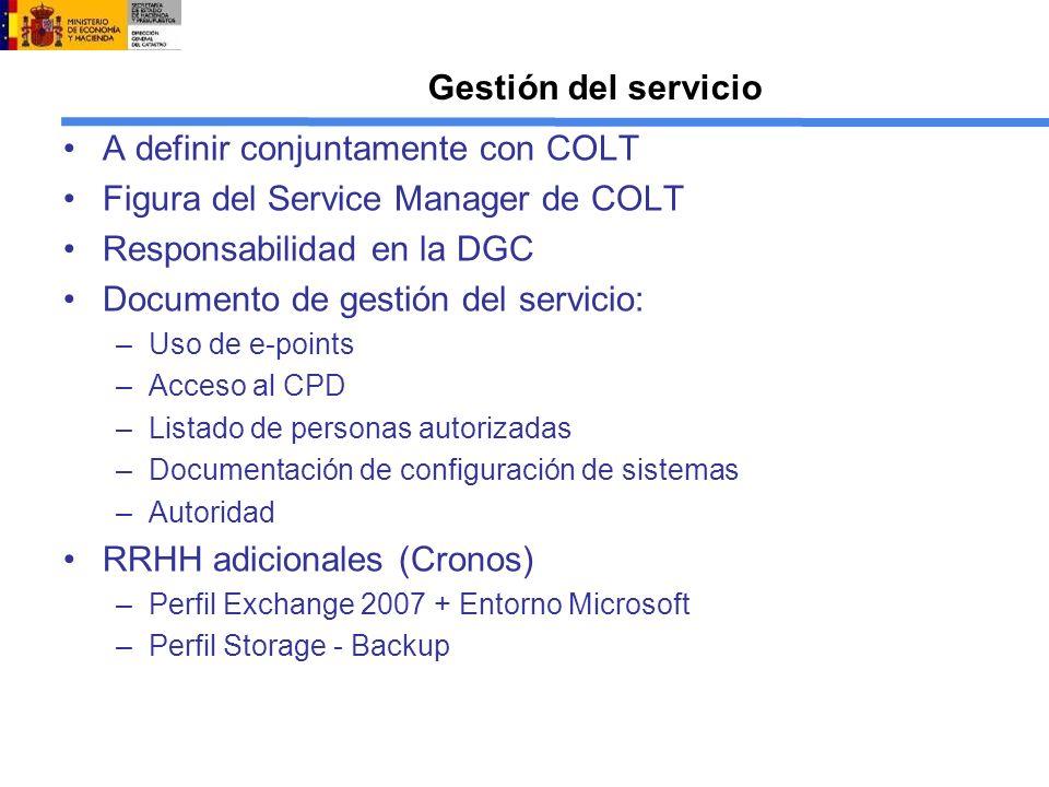 A definir conjuntamente con COLT Figura del Service Manager de COLT