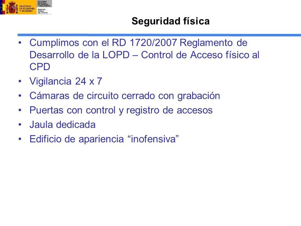 Seguridad física Cumplimos con el RD 1720/2007 Reglamento de Desarrollo de la LOPD – Control de Acceso físico al CPD.