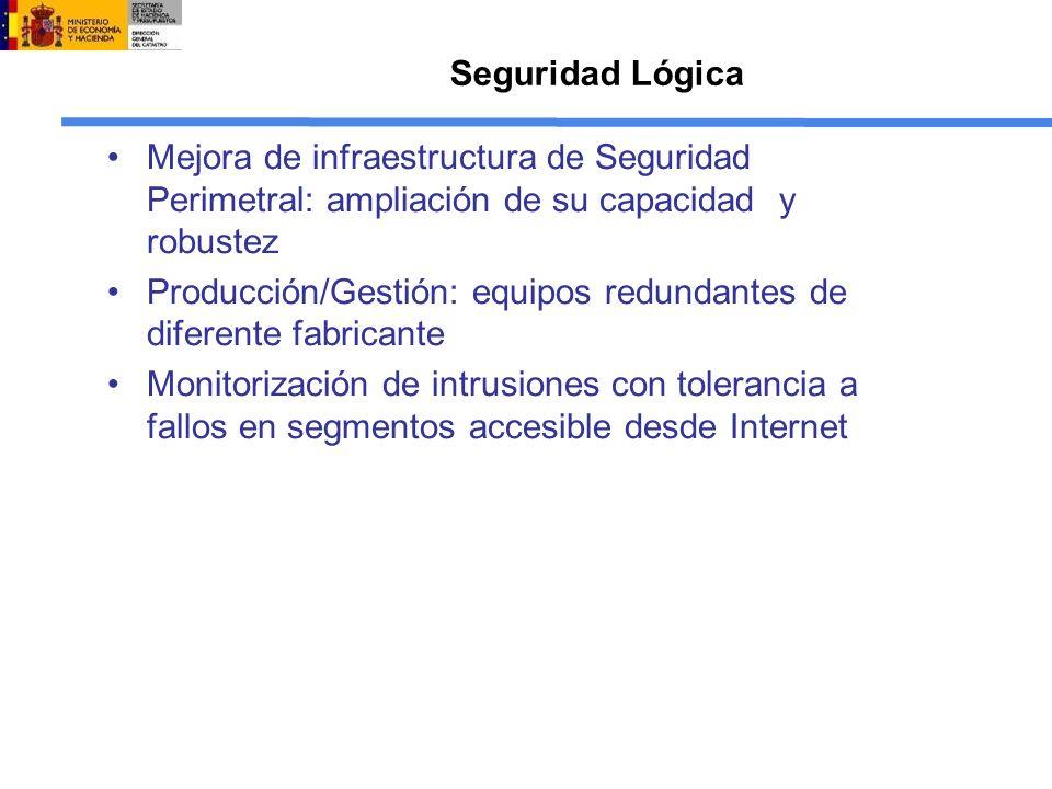 Seguridad Lógica Mejora de infraestructura de Seguridad Perimetral: ampliación de su capacidad y robustez.