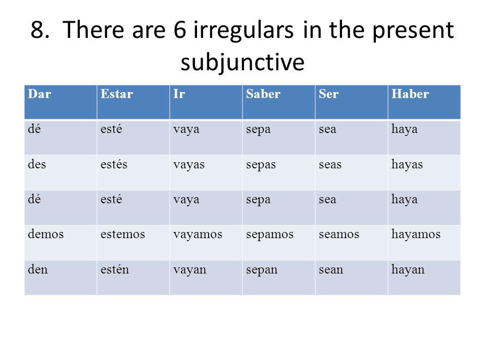 8. There are 6 irregulars in the present subjunctive