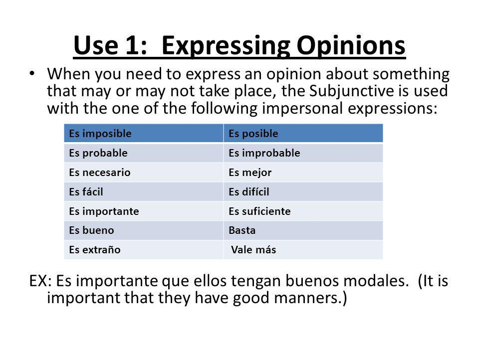 Use 1: Expressing Opinions