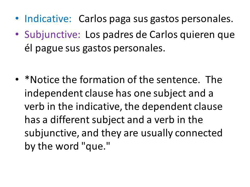 Indicative: Carlos paga sus gastos personales.