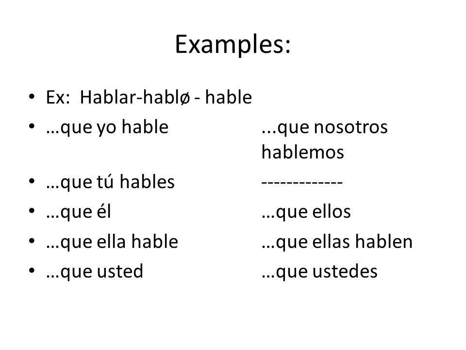 Examples: Ex: Hablar-hablø - hable