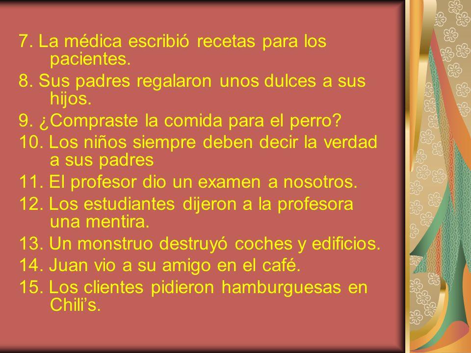 7. La médica escribió recetas para los pacientes.