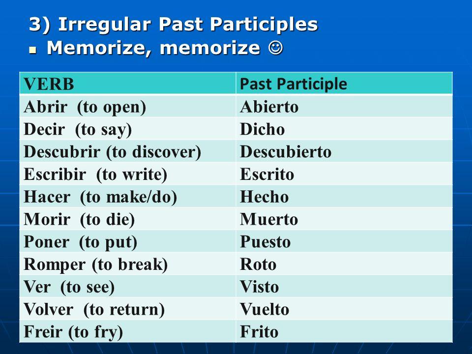 3) Irregular Past Participles