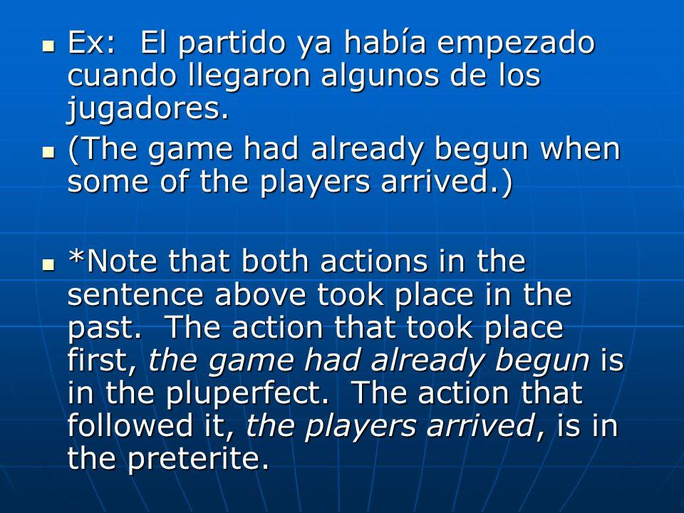 Ex: El partido ya había empezado cuando llegaron algunos de los jugadores.