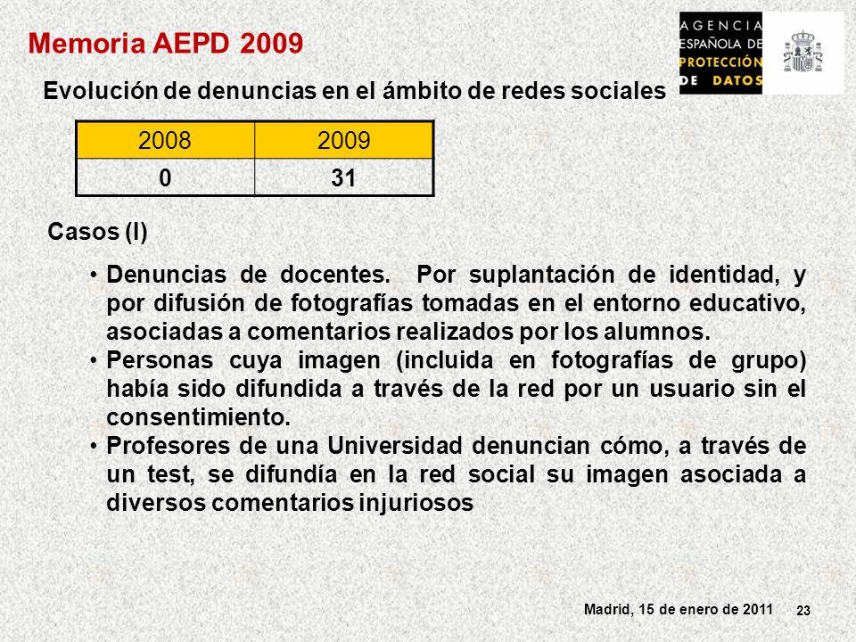 Memoria AEPD 2009 Evolución de denuncias en el ámbito de redes sociales. 2008. 2009. 31. Casos (I)