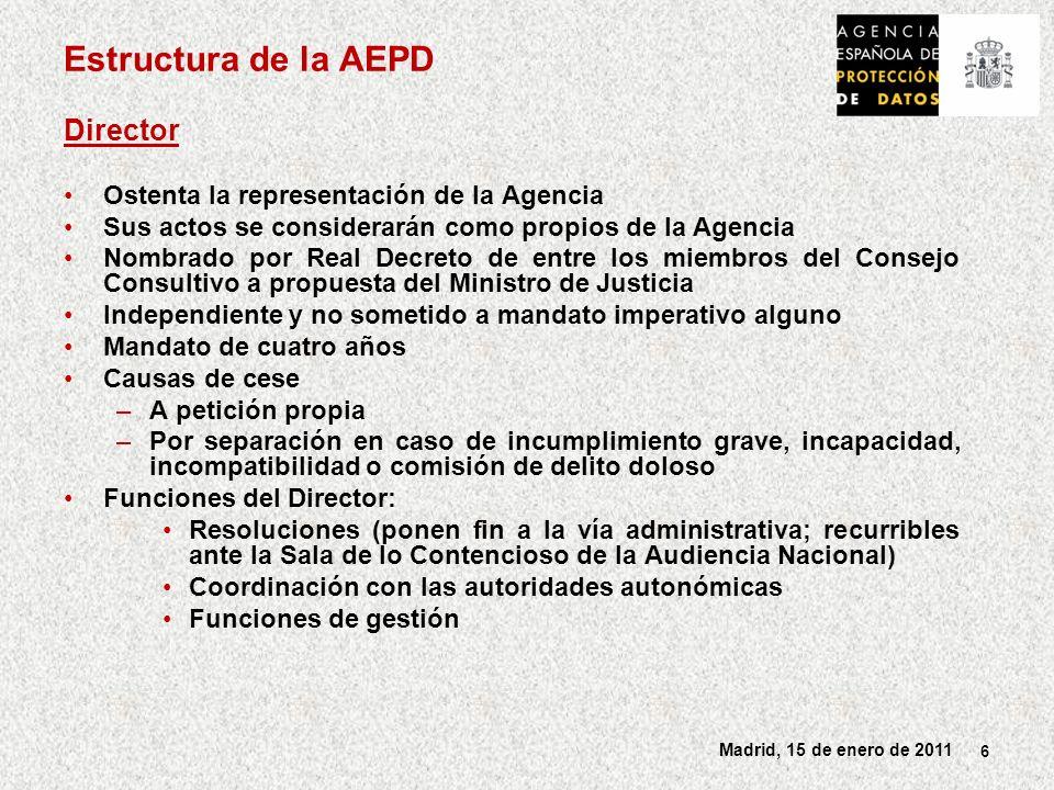 Estructura de la AEPD Director Ostenta la representación de la Agencia