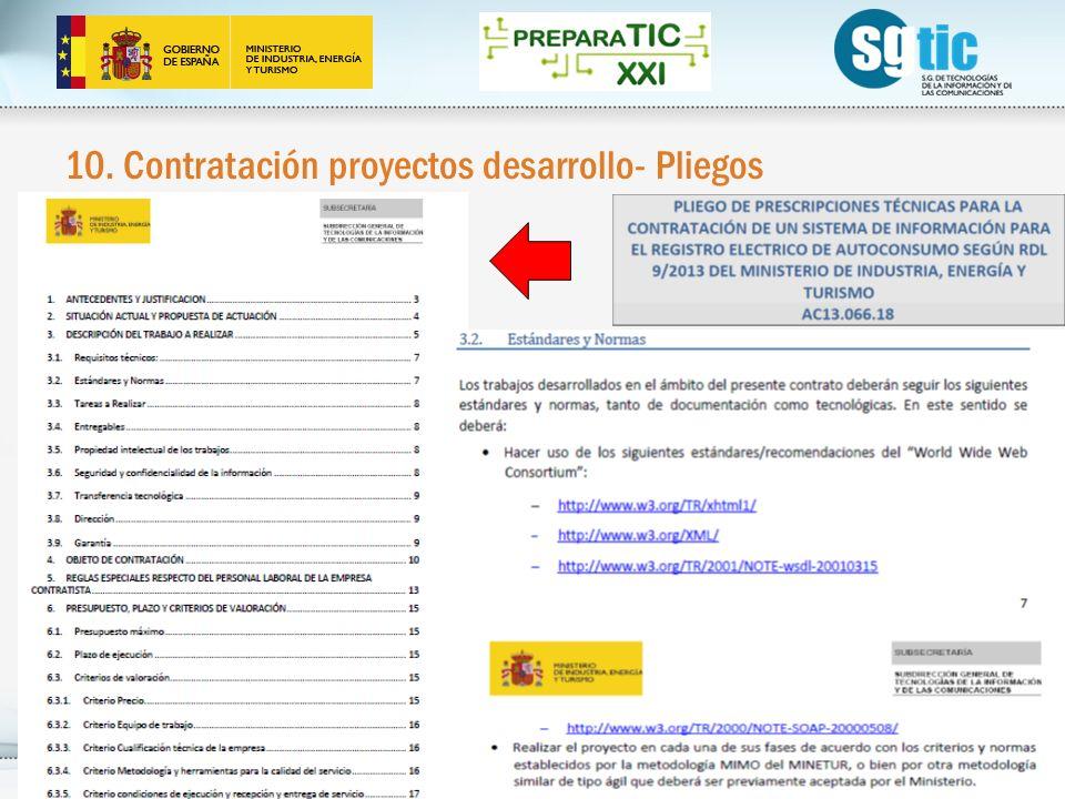 10. Contratación proyectos desarrollo- Pliegos