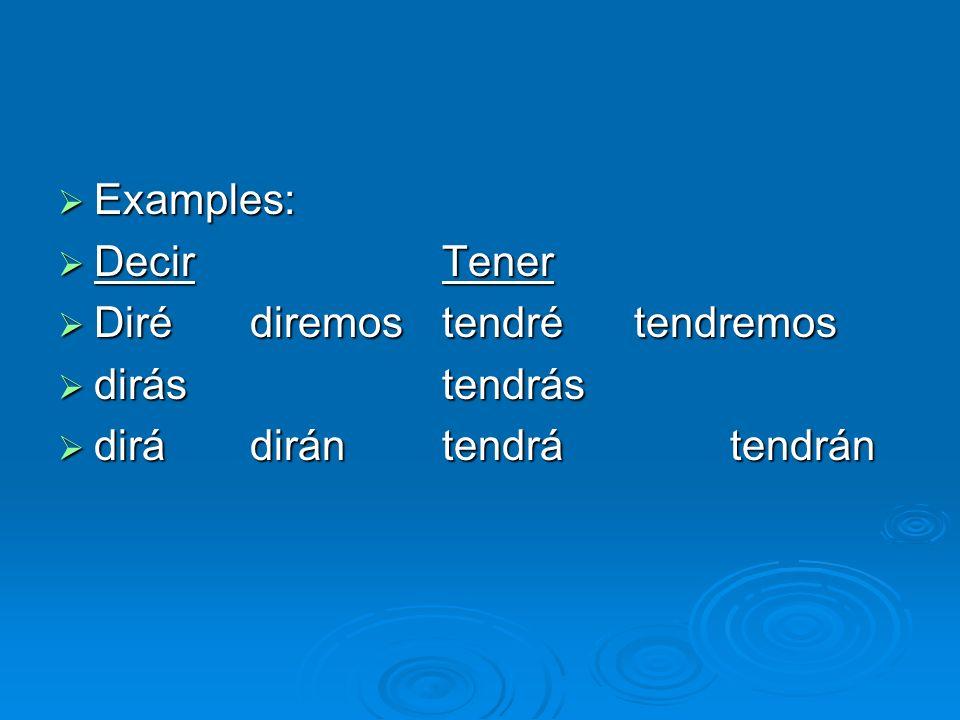 Examples: Decir Tener Diré diremos tendré tendremos dirás tendrás dirá dirán tendrá tendrán