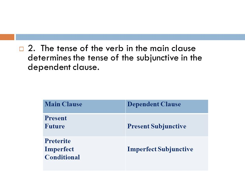 2. The tense of the verb in the main clause determines the tense of the subjunctive in the dependent clause.
