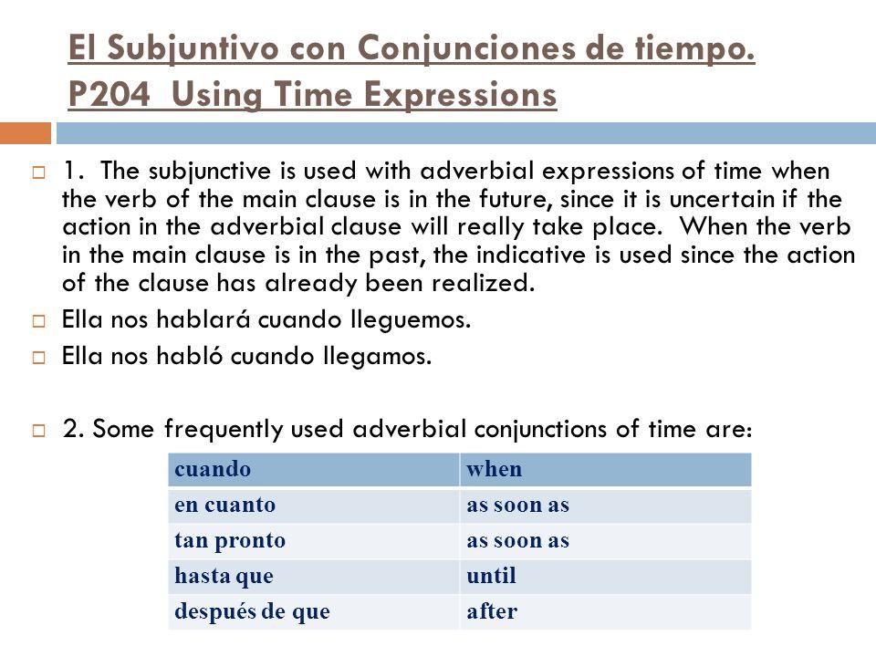 El Subjuntivo con Conjunciones de tiempo. P204 Using Time Expressions
