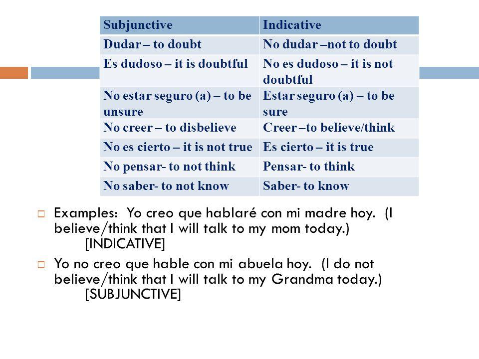 SubjunctiveIndicative. Dudar – to doubt. No dudar –not to doubt. Es dudoso – it is doubtful. No es dudoso – it is not doubtful.