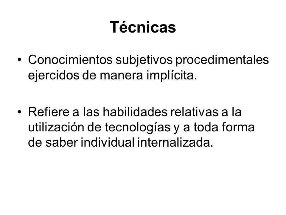 Técnicas Conocimientos subjetivos procedimentales ejercidos de manera implícita.