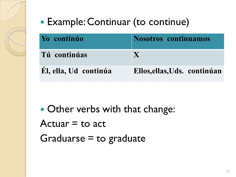Example: Continuar (to continue)
