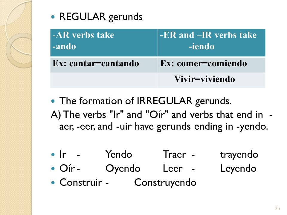 The formation of IRREGULAR gerunds.