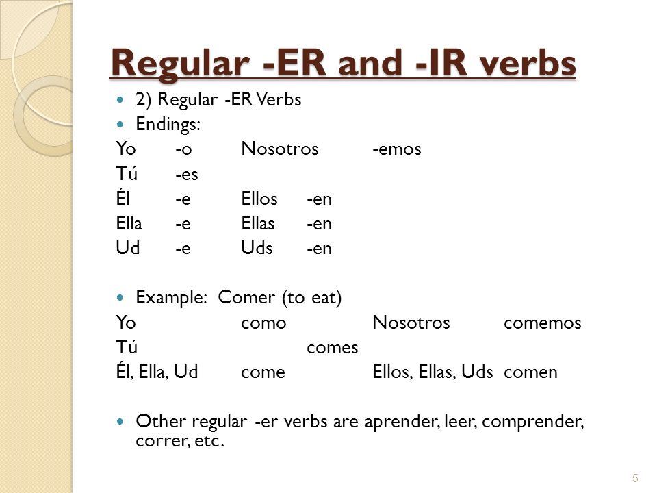 Regular -ER and -IR verbs