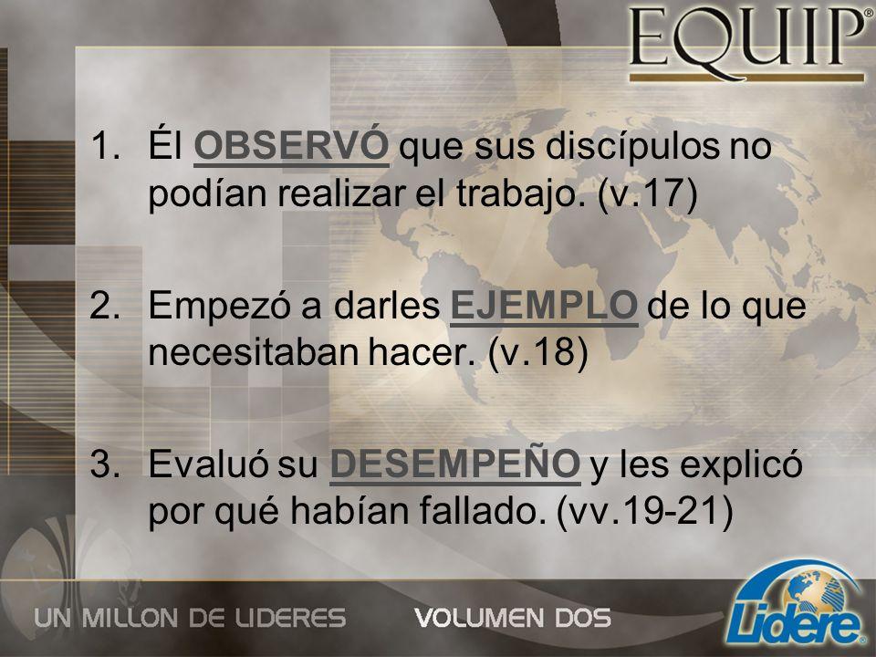 Él OBSERVÓ que sus discípulos no podían realizar el trabajo. (v.17)