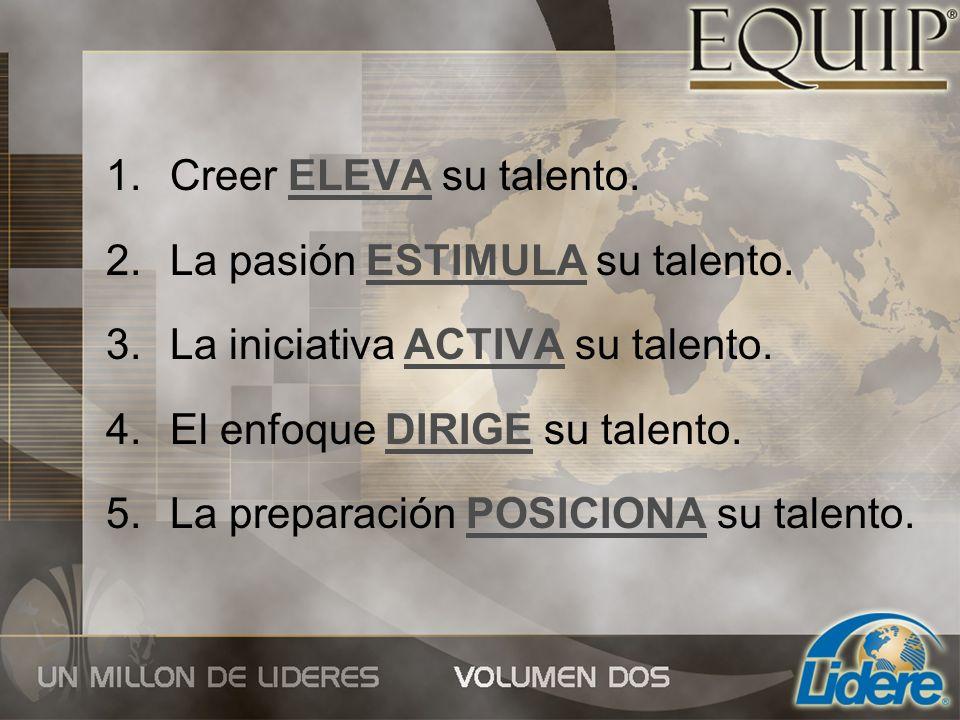 Creer ELEVA su talento. La pasión ESTIMULA su talento. La iniciativa ACTIVA su talento. El enfoque DIRIGE su talento.