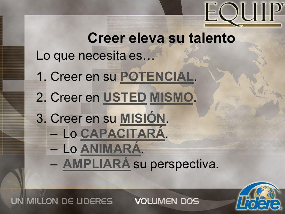 Creer eleva su talento Lo que necesita es… Creer en su POTENCIAL.