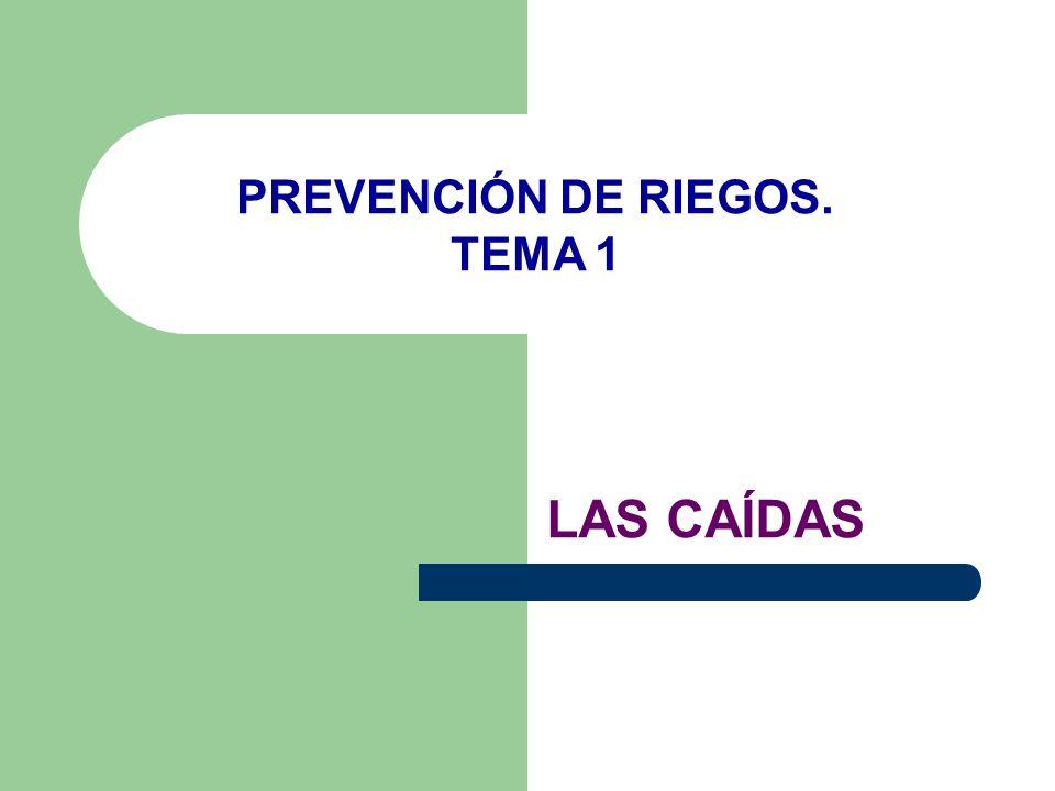 PREVENCIÓN DE RIEGOS. TEMA 1 LAS CAÍDAS