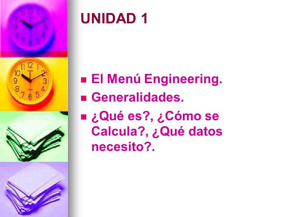 UNIDAD 1 El Menú Engineering. Generalidades.