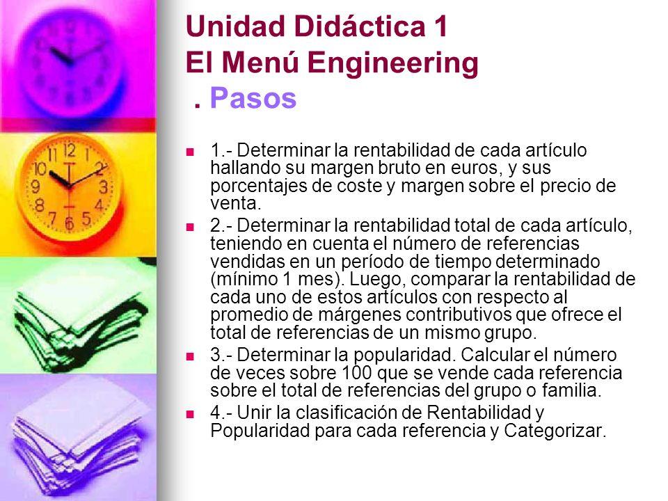 Unidad Didáctica 1 El Menú Engineering . Pasos