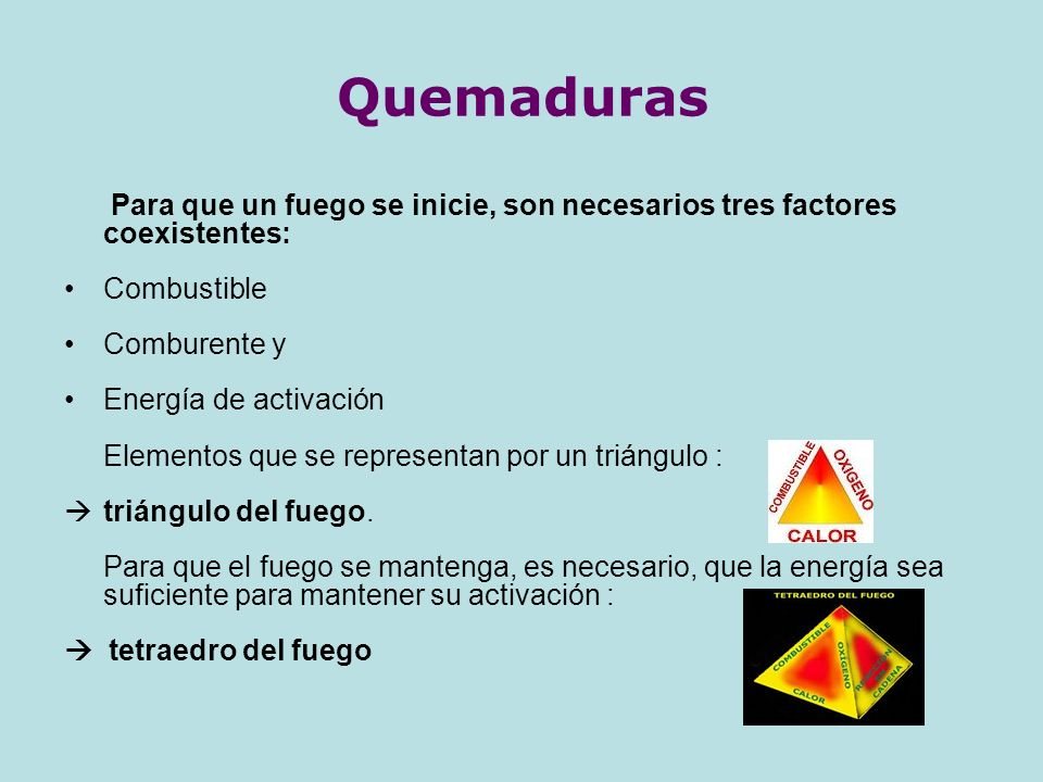 Quemaduras Para que un fuego se inicie, son necesarios tres factores coexistentes: Combustible. Comburente y.