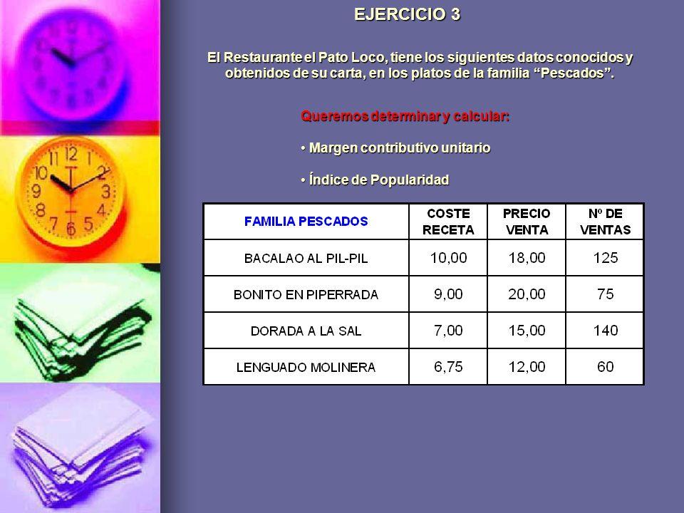 EJERCICIO 3El Restaurante el Pato Loco, tiene los siguientes datos conocidos y obtenidos de su carta, en los platos de la familia Pescados .