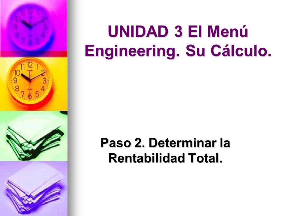 UNIDAD 3 El Menú Engineering. Su Cálculo.