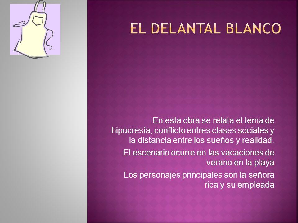 El Delantal BlancoEn esta obra se relata el tema de hipocresía, conflicto entres clases sociales y la distancia entre los sueños y realidad.