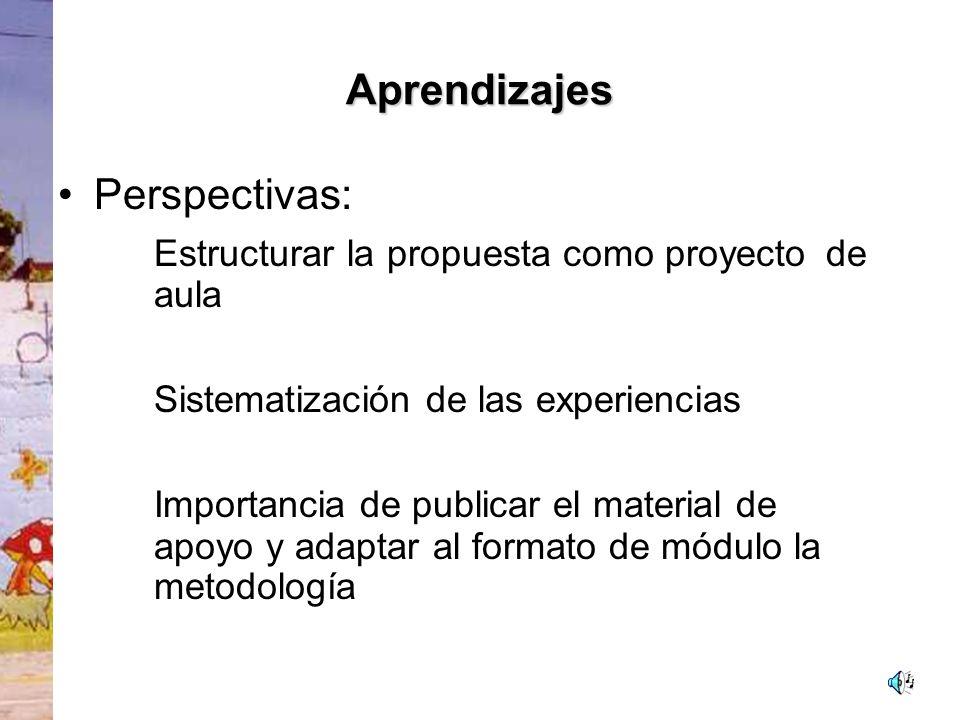 Aprendizajes Perspectivas: Estructurar la propuesta como proyecto de aula. Sistematización de las experiencias.
