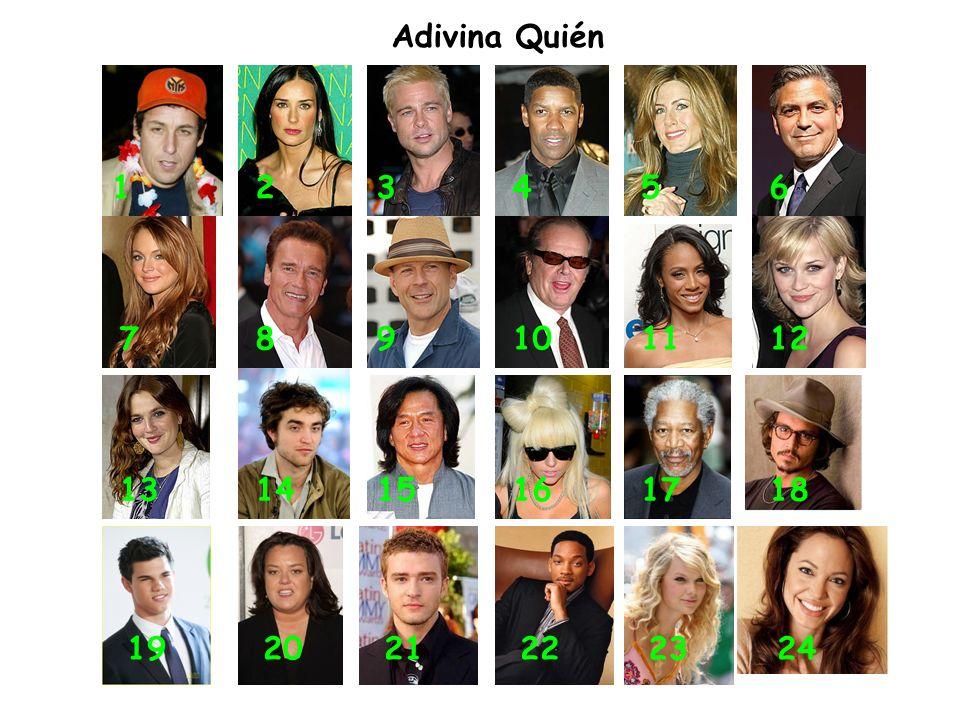 Adivina Quién 1 2 3 4 5 6 7 8 9 10 11 12 13 14 15 16 17 18 19 20 21 22 23 24