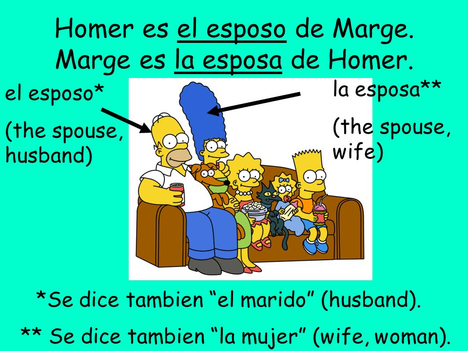 Homer es el esposo de Marge. Marge es la esposa de Homer.