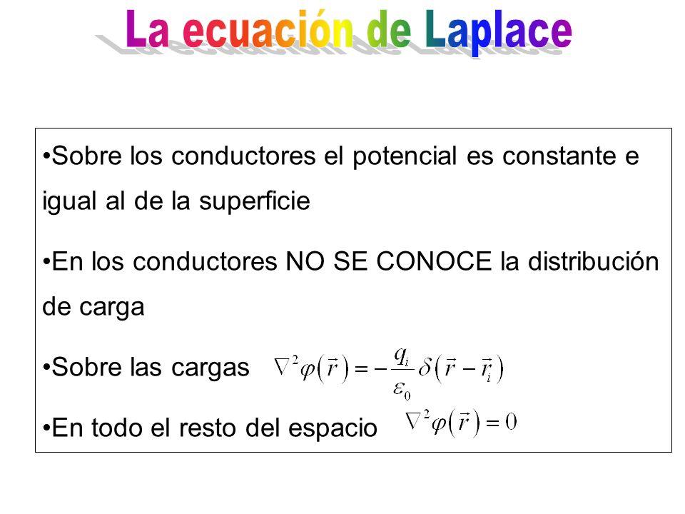 La ecuación de Laplace Sobre los conductores el potencial es constante e igual al de la superficie.