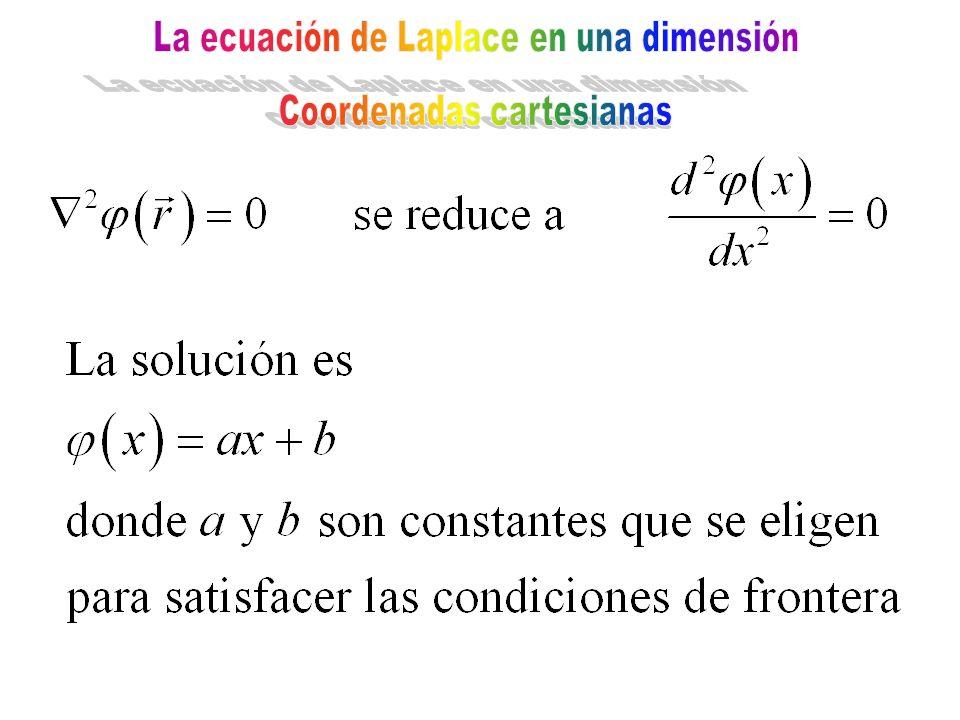 La ecuación de Laplace en una dimensión Coordenadas cartesianas