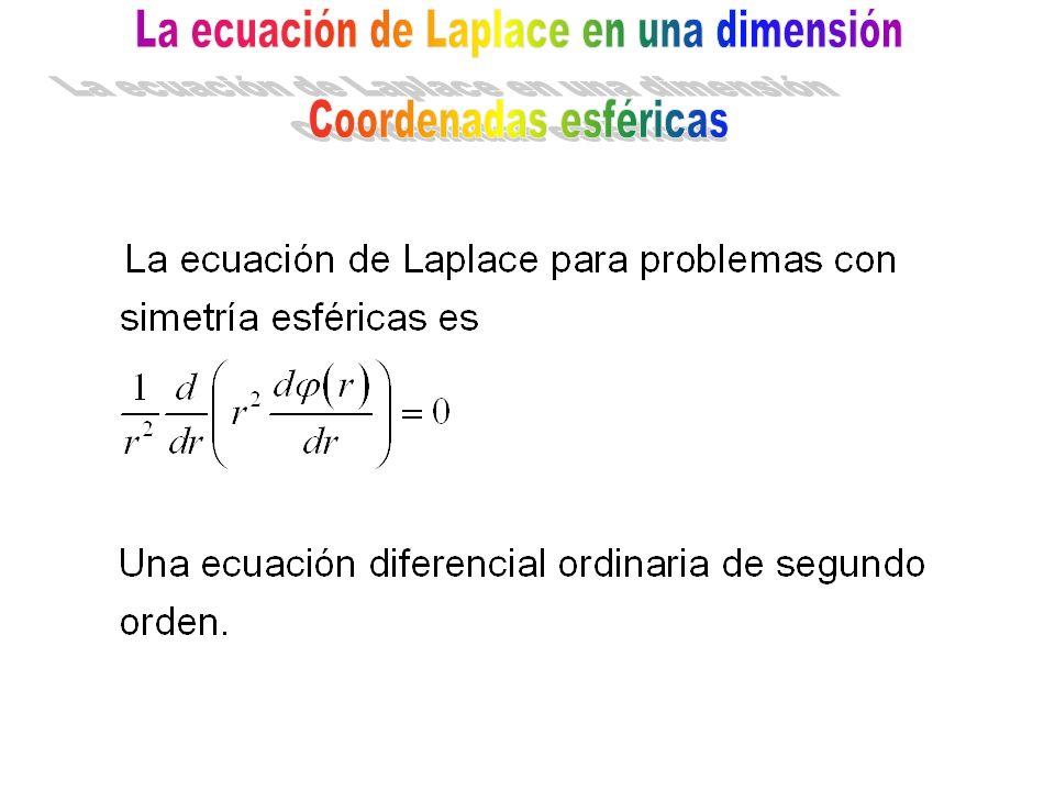 La ecuación de Laplace en una dimensión Coordenadas esféricas