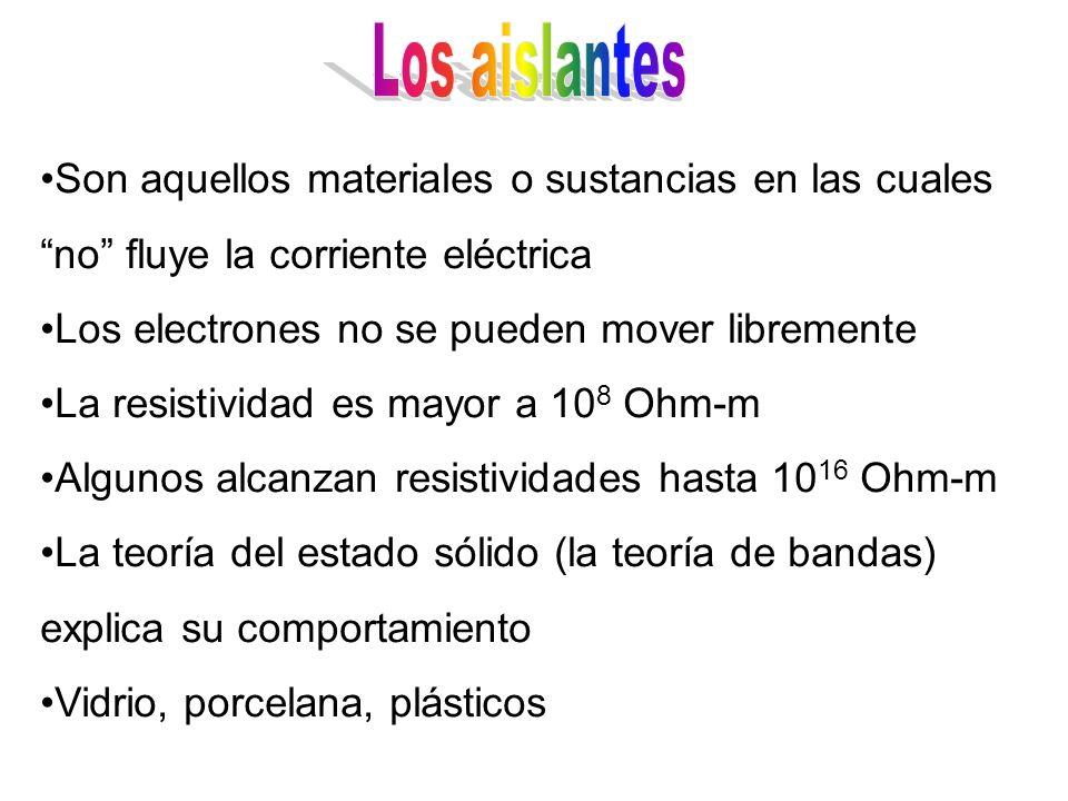 Los aislantes Son aquellos materiales o sustancias en las cuales no fluye la corriente eléctrica.