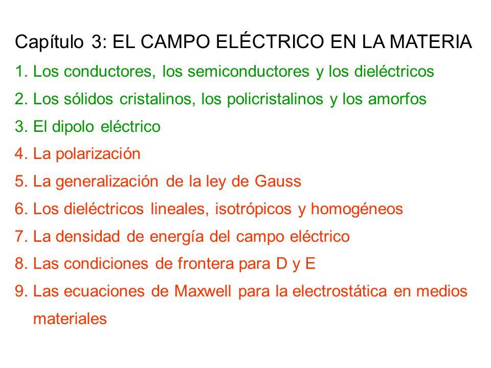 Capítulo 3: EL CAMPO ELÉCTRICO EN LA MATERIA