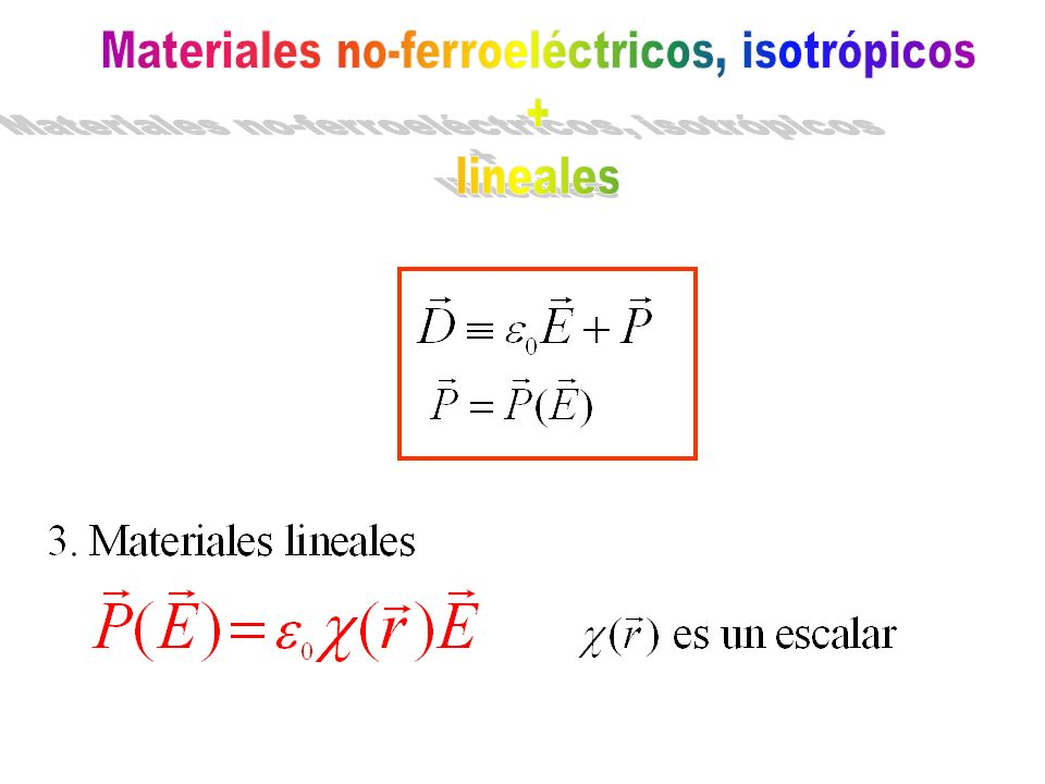 Materiales no-ferroeléctricos, isotrópicos