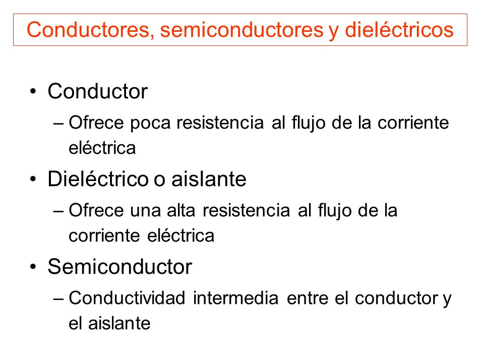 Conductores, semiconductores y dieléctricos